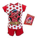 Sabor Pigiama Bambina Estivo Ladybug, Pigiama Bambina in Cotone, Pigiama Bambina Corto Disney Marvel (C0009 Rosso, 10 Anni, 10_Years)