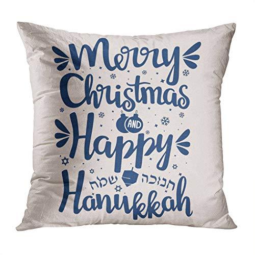 Moladika Hanukkah Throw Pillow Cover Square 18 x 18 Inch Hand Written Happy Merry Christmas Cushion Home Decor Living Room Sofa Bedroom Office Polyester Pillowcase