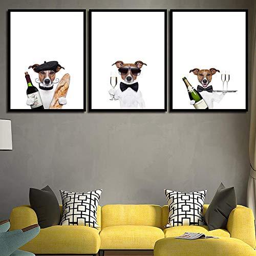 Pintura de Lienzo de Dibujos Animados en Blanco y Negro imágenes de Perros Impresiones artísticas Mural de Animales Cartel de Perro Hotel decoración Mural de Sala de Estar Modular 40x60cmx3 sin Marco