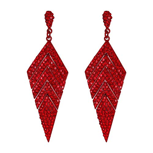 Ever Faith Pendientes Mujer Cristal Austríaco Forma Rombo Araña Largo Aretes Colgantes Tono Rojo