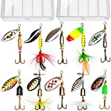 10pcs Fishing Lure Spinnerbait, Bass Trout Salmon Hard Metal Spinner Baits Kit with 2 Tackle Boxes by Tbuymax