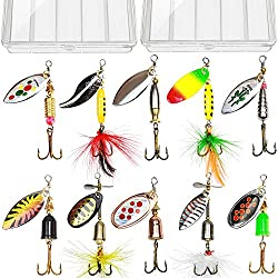10Pcs Hard Salmon & Bass Trout Fishing Lure Spinner Bait Kit from Tbuymax
