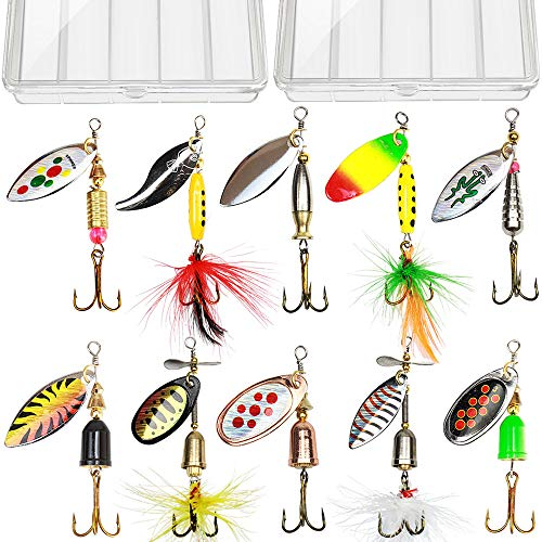 10pcs Fishing Lure Spinnerbait, Bass Trout Salmon Hard Metal Spinner Baits Kit with 2 Tackle Boxes...