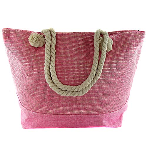 Bolsa de playa grande con cremallera para el verano o viaje. Bolsa tote, shopper, capazo divertido perfecto para playa o piscina. Medidas :50x37x14cm (Rosa)