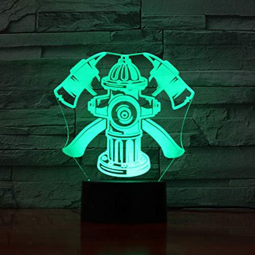3D Veilleuse Pompier Lumière De Nuit Acrylique Lampe De Chevet Avec 7 Couleurs Décoration De Chambre Led Lampe Pour Chambre De Bébé Enfant Cadeau De Noël Fête Anniversaire