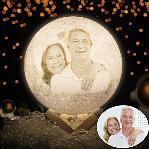 Lámpara de luna personalizada, Luz de luna impresa en 3D personalizada con texto fotográfico, Lámparas de luna grabadas personalizables Aniversario San Valentín Navidad Los mejores regalos
