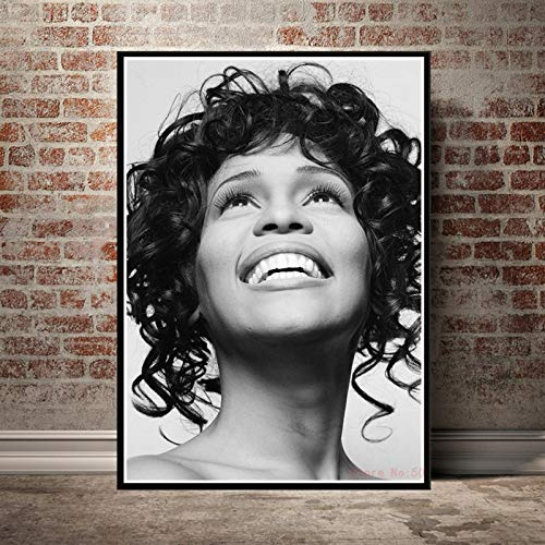 Aishangjia Whitney Houston Poster Music Star Canvas Painting Stampe Wall Art Picture for Living Room Bedroom Home Decor 40x50 cm (15,74x19,68 in) J-2849