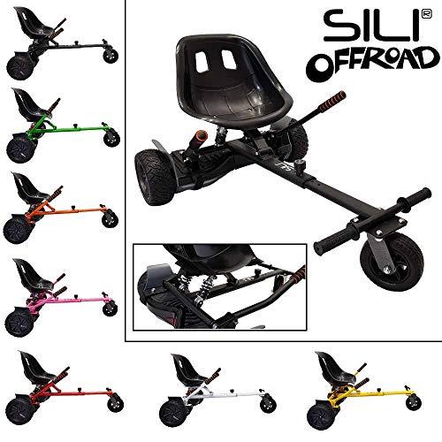 SILI® Aus Straße Suspension Kart für 2 Wheel Self Balance Scooter, verbessertes Design mit Federung unter dem Sitz (SCHWARZ)