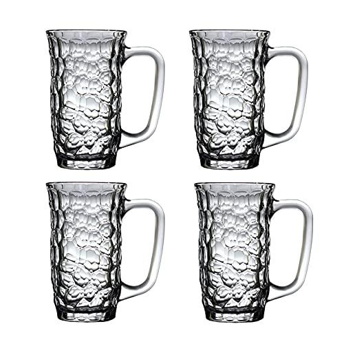 Xiangxiang Tazas de cerveza vasos de cerveza, tazas de cerveza, tazas de vidrio con mango, vasos de cerveza de 385 ml, vasos de agua para bar, 4 piezas, pub