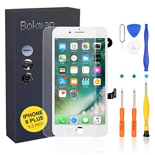 bokman LCD Pantalla para iPhone 8 Plus Reemplazo de Pantalla LCD con Cámara Frontal, Sensor Flex, Altavoz Auricular y Herramientas de Reparación(Blanco)