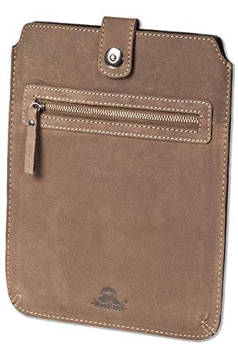 Woodland® Hochwertige Ledertasche für Tablets aus weichem, naturbelassenem Büffelleder in Dunkelbraun/Taupe, Dunkelbraun