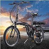 Negro Bicicleta Eléctricas de montaña Plegables, 250W Motor Bicicleta Plegable 25 km/h hasta 45-55 km Bicicletas De montaña para Hombres/Adultos