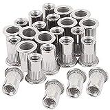 Lot de 30 écrous à rivets M8 en acier inoxydable filetés pour rivets et écrous M8-1,25 mm