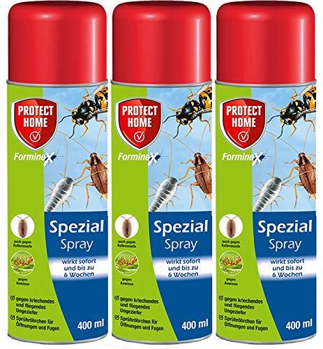 Protect Home F. Ungeziefer Spezial-Spray 3 x400ml - Mit Gratis Gardopia Zeckenzange