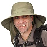 Catalonia Wide Brim Hat for Men,Outdoor Sun Protection Hat with Neck Flap Cover for Fishing Hiking Camping Hunting Boating Safari Gardening Working