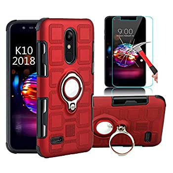 EDSAM Case Compatible with LG Stylo 4/Q Stylo/Stylus 4/Stylo 4 Plus with HD Screen Protector,Dual Layer Shockproof Case with 360 Degree Ring Kickstand Fit Magnetic Car Mount for LG Stylo 4  Red