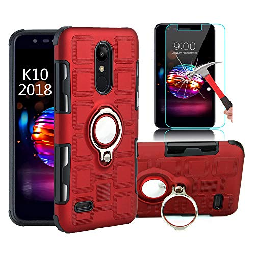 EDSAM Case Compatible with LG Stylo 4/Q Stylo/Stylus 4/Stylo 4 Plus with HD Screen Protector,Dual Layer Shockproof Case with 360 Degree Ring Kickstand Fit Magnetic Car Mount for LG Stylo 4 (Red)