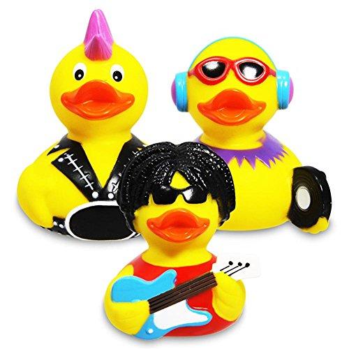 """Badeente """"Rockstar"""" Rockstar, gelbe Quietscheente Rockstar mit Gitarre, Sonnenbrille und schwarzen Haaren, Material: Vinyl, Größe: ca. 9 x 7 x 8 cm"""