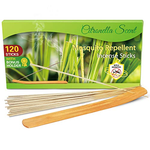 LA BELLEFÉE 120 X Citronella Scented Sticks, Lemongrass Sticks,Fragrance Sticks, Clay Infused with Citronella Oil, Sticks Gift Pack Including a Holder in Box, A Set for Garden of Outdoor & Indoor