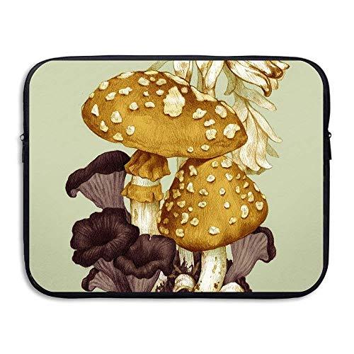 Laptop Case Mushroom Painting Laptop Sleeve Protective Case Water-Resistant Neoprene Briefcase 15 Inch