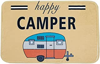 Ownest Happy Camper Camping Door Mat,Entrance Outdoor/Indoor Floor Doormat Door Non Slip Mats Bathroom Kitchen Decor Rug 40cmx60cm