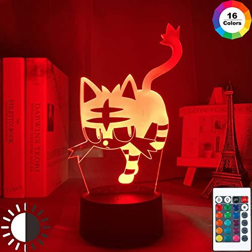 KangYD 3D Nachtlicht Pokemon Go Litten, LED-Illusionslampe, Raumdekor, G - Handy-Kontrollbasis, Geschenk für Mädchen, Schreibtischlampe, Bar Dekor, Dekor Geschenk