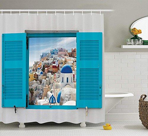 AdaCrazy cremefarbenes Fenster altem Fensterladen Blick auf die Kultur des traditionellen griechischen Dorfes Duschvorhang-Set europäischem Stadtbilddekor Badezimmerzubehör graublauer