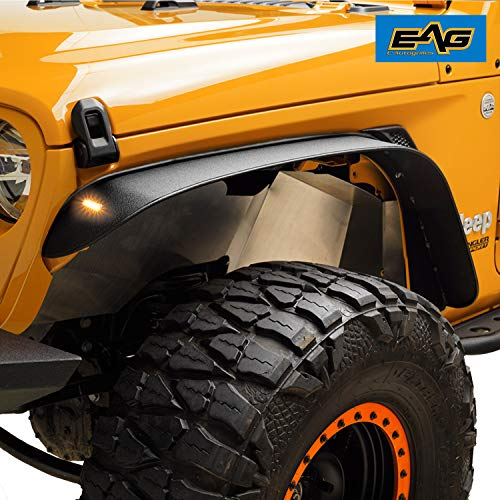 EAG Black Stubby Front Fender with LED Amber Lights and Rear Fender Flares 4PCS Fit for 18-20 Jeep Wrangler JL