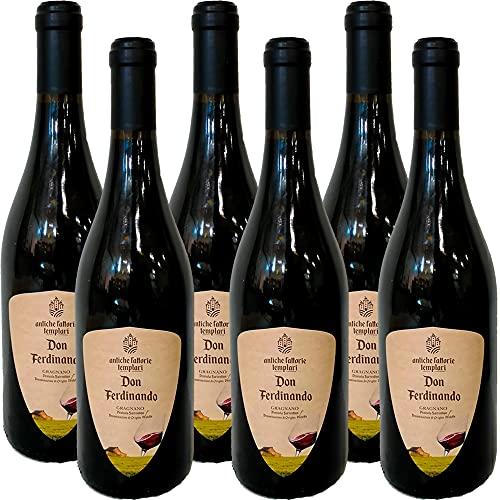 Vino Gragnano Dop   Rosso Frizzante   Penisola Sorrentina   Antiche Fattorie Templari   Confezione da 6 Bottiglie da 75 Cl   Vino Rosso della Campania   Idea Regalo