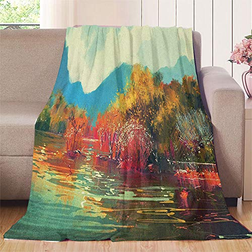Bill Lloyd Pink Blanket Soft Reversible Velvet Ultra Plush Throw 60'x80' Art,Surreal Autumn Forest with Faded Trees by The Lake Before Mountains Fall Season Image, Multicolor