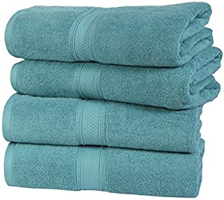 HILLFAIR 4 Pack Cotton Bath Towels Set- 600 GSM 100% Combed Cotton Bath Towel Set- 28