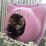 YAMEIJIA Katzenstreu Katzenbalkon Saugnapf geschlossen Katzenvilla liefert Filznest,Pink