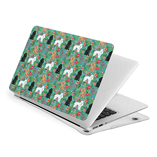 MacBook Pro 13 Inch Case Poodle Dog Portraits Floral Flowers Hard Laptop Shell Case Cute Protective Laptop Cover
