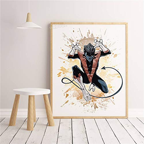 LKJHGU No frame Watercolor Superhero Superpower Spider Iron Man Movie Character Poster Cartoon Wall Art Picture Kids Room Decor canvas painting 30 * 40cm F