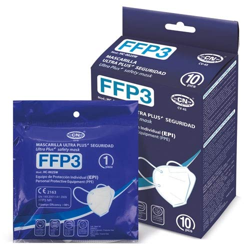 10 uds Mascarilla FFP3 Premium UltraPlus+ Seguridad Homologada CE + Ajustador | envío desde España