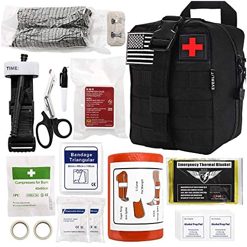 "Everlit Emergency Trauma Kit with Aluminum Tourniquet 36"" Splint, Military Combat Tactical IFAK for First Aid Response, Critical Wounds, Gun Shots, Blow Out, Severe Bleeding Control and More (Black) 3"