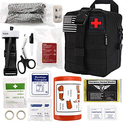 Everlit Emergency Survival Trauma Kit with Tourniquet 36' Splint, Military Combat Tactical IFAK for First Aid Response, Critical Wounds, Gun Shots, Blow Out, Severe Bleeding Control and More (Black)