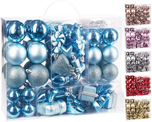 Brubaker 77-Pezzo Set di Palle di Natale - Decorazioni per L'Albero di Natale - Blu Chiaro/Argento