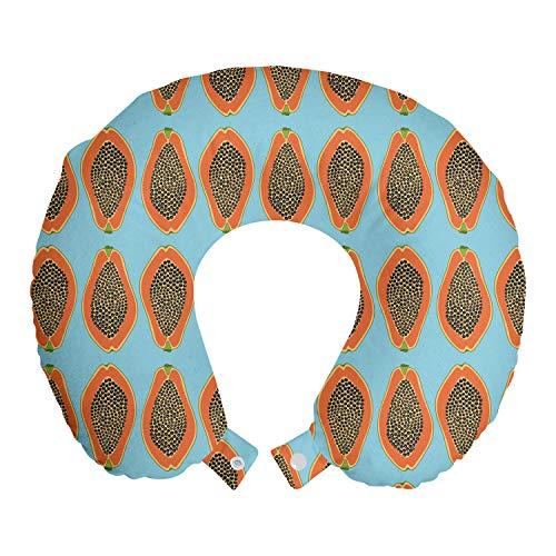 ABAKUHAUS Orange Blue Reisekissen Nackenstütze, Halbierte Tropic Papayas, Schaumstoff Reiseartikel für Flugzeug und Auto, 30x30 cm, Sky Blue Burnt Sienna