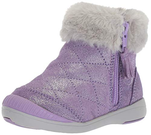 Stride Rite Chloe Girl's Sparkle Suede Bootie Fashion Boot, Purple, 13.5 W US Little Kid