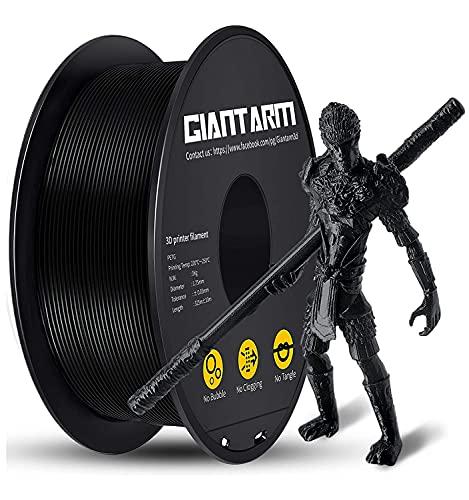 GIANTARM PETG Filament, Filamento de impresora 3D 1.75mm, Precisión dimensional +/- 0.2mm, 1kg, Negro