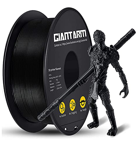 PETG Filament per Stampante 3D, GIANTARM PETG Filament 1.75mm, Dimensional Accuracy +/- 0.2mm, 1kg, Nero