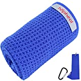 haphealgolf Golf Towel Set-Golf Towels for Golf Bags with Clip for Men and Women,16' x 21' Microfiber Waffle, Tri-fold,Funny Golf Towel Kit for Gift (1Pack-Blue Towel)