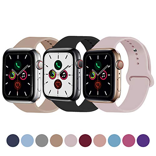 Idon 3-Pack Sport Band Compatible for Apple Watch Band 38MM 40MM S/M, Soft Silicone Sport Bands Replacement Strap Compatible with iWatch Apple Watch Series 5/4/3/2/1, Black + Walnut + Pink Sand