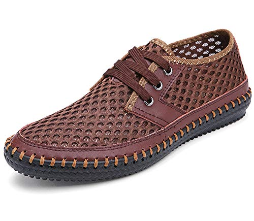 MOHEM Men's Poseidon Casual Water Shoes Mesh Walking Quick Drying Hiking Shoes(3166Coffee46)