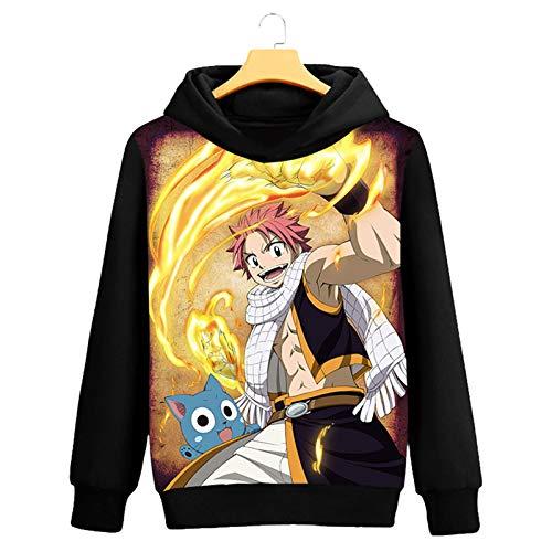 WWZY Hombre Mujer Anime Fairy Tail 3D Etherious • Natsu • Dragneel Impreso Happy Sudadera con Capucha Pullover Anime Manga Larga Hoodie Cosplay Disfraz Abrigo Sweatshirts,XXXXL