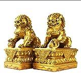 WXQY Un par Golden Guardian Pekín Leones par Estatuas Los Perros Fu Foo,Sala Estar/Estudio/Hall/Recepción Decoración Escritorio
