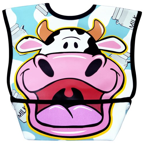 Dexbaby Big Mouth Cow Leak-Proof Dura Bib w/ Catch-All Pocket - Large | 6 months +