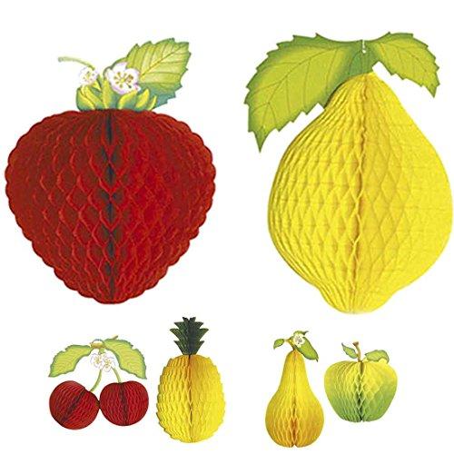 Amakando Wabendeko Frucht wabenförmiges Deko-Obst Erdbeer-Zitrone Dekofrucht Waben 3D Papierfrucht Partydekoration Cocktail Sommerdeko