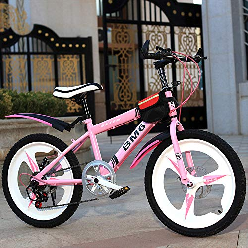 ZJDU Kids' Bikes,High Steel Frame Outroad Bike,Dual Suspension, Twist Shifters,Front and Rear Brakes, for 8-9-10-18 Years Old Elementary School Student,Pink